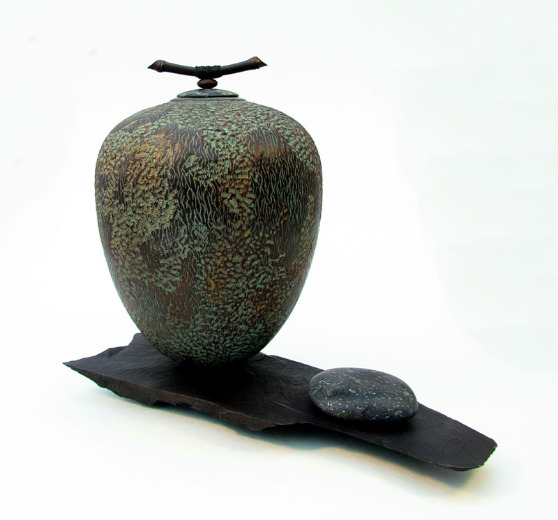 Mark Sanger Impermanence Lidded sycamore form with bamboo finial on slate plinth