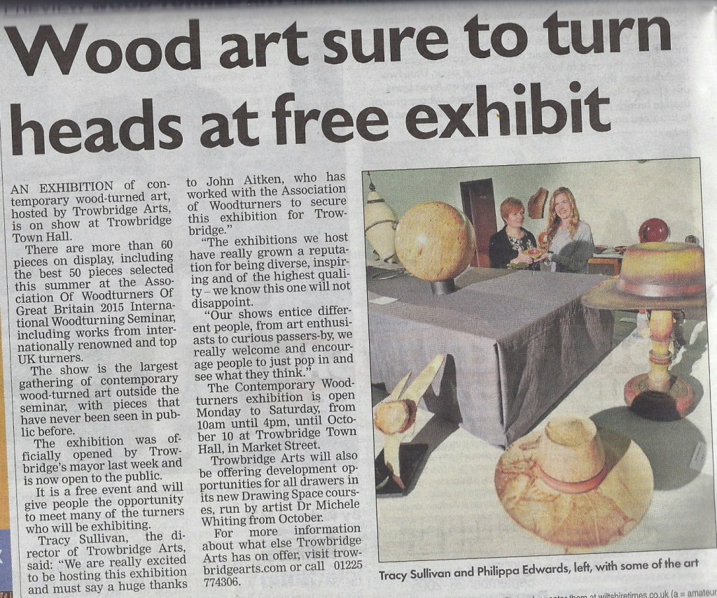 Trowbridge contemporary woodturning exhibition article from the Wiltshire Times